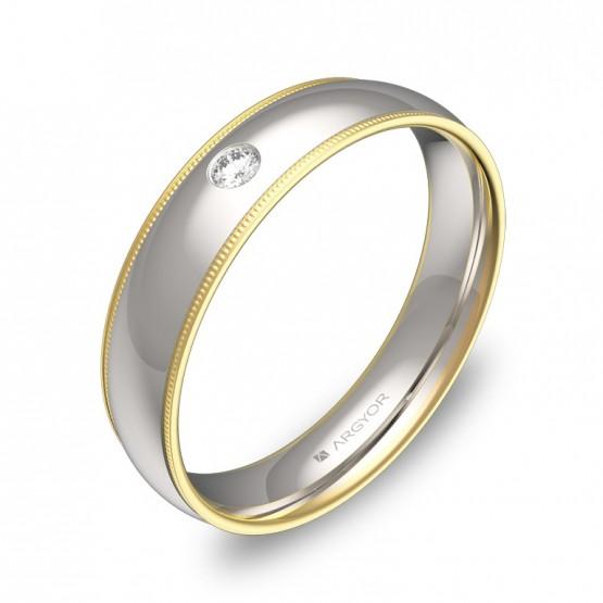 Alianza de boda de 4,5mm en oro bicolor pulido con diamante D3145P1BA
