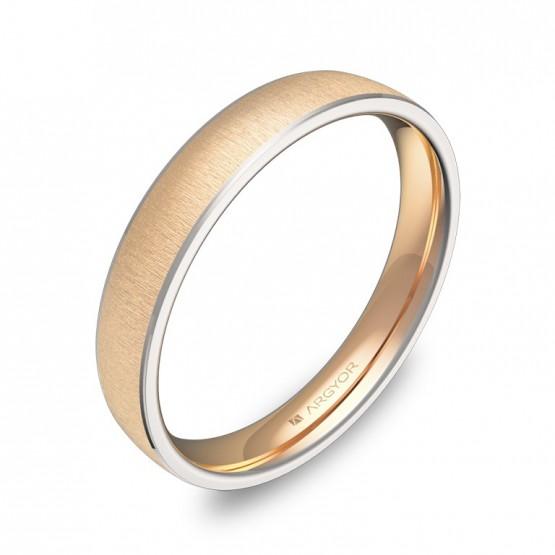 Alianza de boda con biseles 3,5mm oro bicolor texturizado D3235T00R