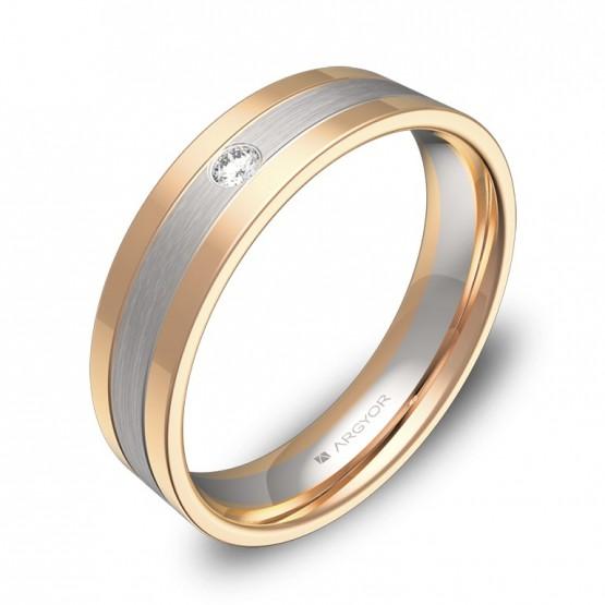 Alianza de boda con ranuras en oro bicolor con diamante D3450C1BR