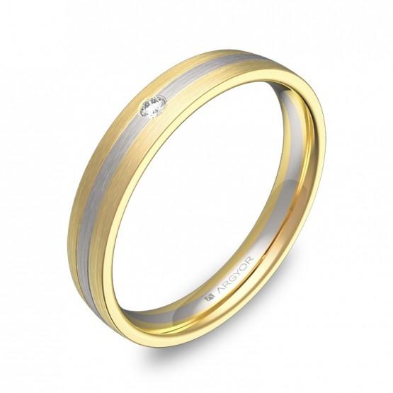 Alianza de boda con ranuras de oro bicolor y diamante D3535S1BA