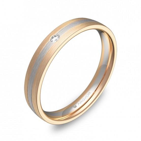 Alianza de boda con ranuras oro bicolor 1 diamante D3535S1BR
