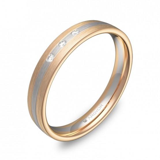Alianza de boda en media caña de oro bicolor con diamantes D3535S3BR