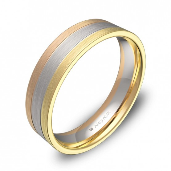 Alianza de boda plana 5mm en oro tricolor D3750S00T