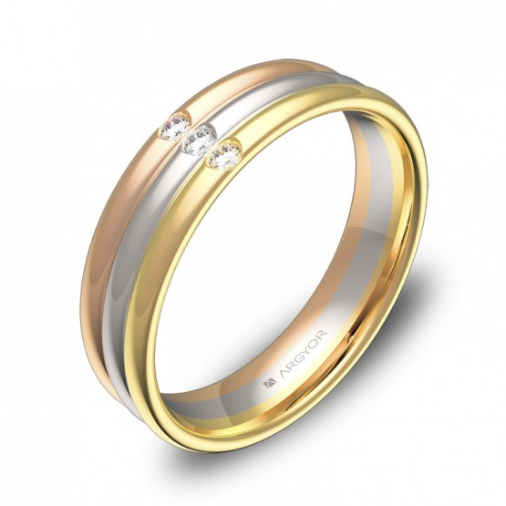 Alianza 5mm en oro tricolor pulido con diamantes - D3850P3BT