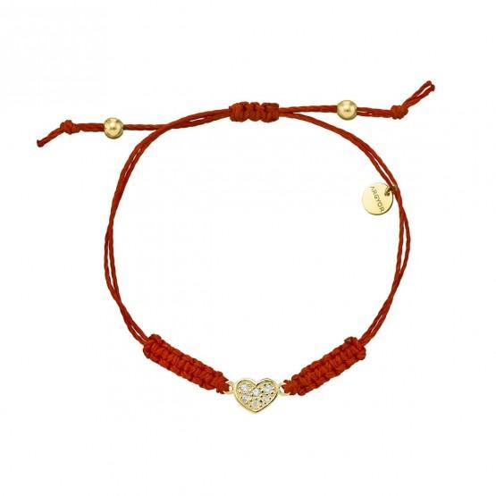 Pulsera Macrame Corazón oro y diamantes (76AMA007)