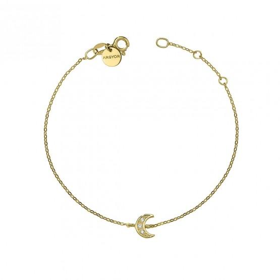 Pulsera oro amarillo 18k con Luna de diamantes (76APU004)