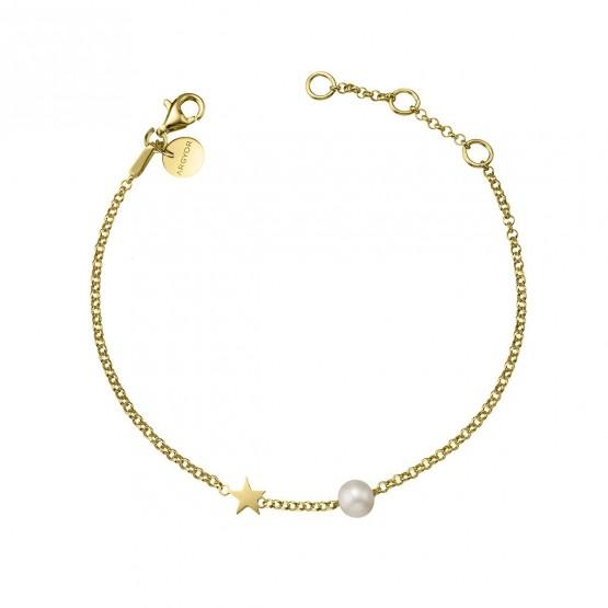 Pulsera de plata dorada Estrella y Perla (4A8307301)