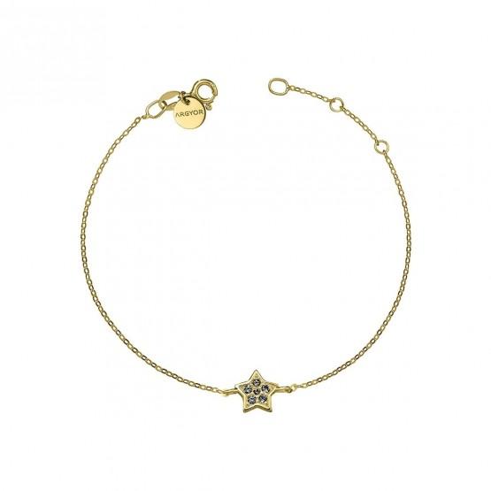 Pulsera oro Estrella con Diamante negro (76APU005DN)