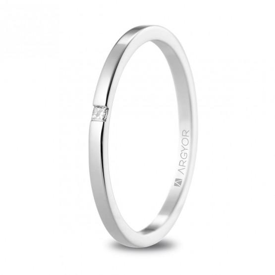 Anillo de matrimonio de oro blanco con diamante (5B17530P)