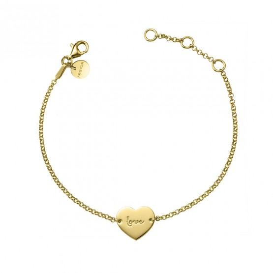 """Pulsera de plata dorada corazón """"love"""" (4A8307315)"""