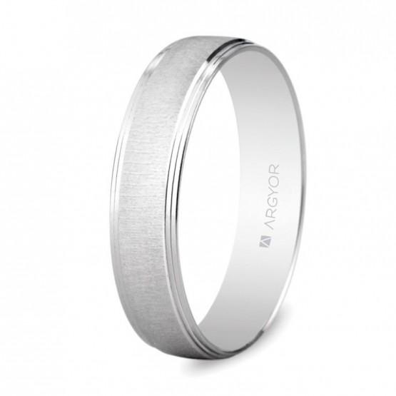 Alianza boda oro blanco texturizado 4,5mm (5B45466)