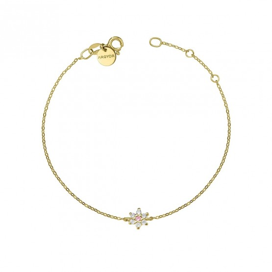 Pulsera oro flor diamante y zafiro rosa (76APU001ZR)