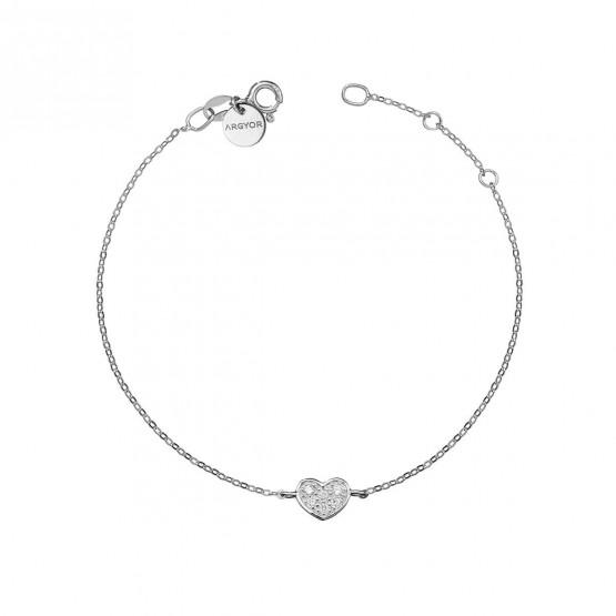 Pulsera oro blanco 18k con Corazón de diamantes (76BPU007)