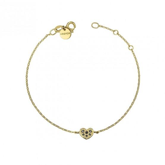 Pulsera oro Corazón con Diamante negro (76APU007DN)