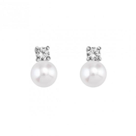 Pendientes de platino con perlas y diamantes (75B0101P)