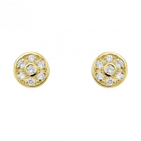 Pendientes de diamantes en roseta de oro (76APE003)