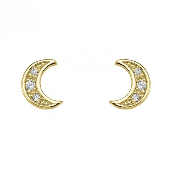 Pendientes Luna diamantes y oro (76APE004)