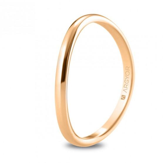 Anillo de boda de oro rosa de 18k de forma ondulada (5R18531)