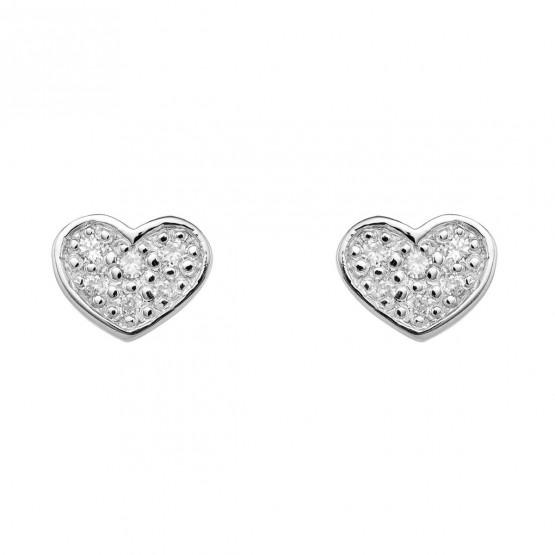 Pendientes Corazón diamantes y oro blanco (76BPE007)