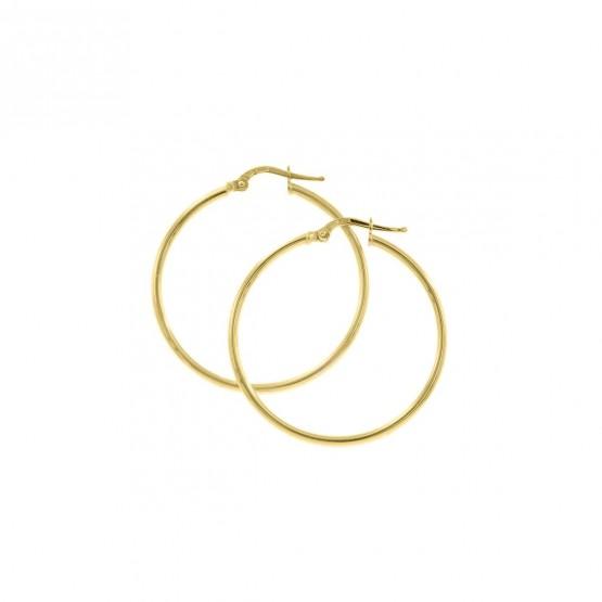 Pendientes de aro en oro amarillo de tipo criolla 30mm (06A0230)