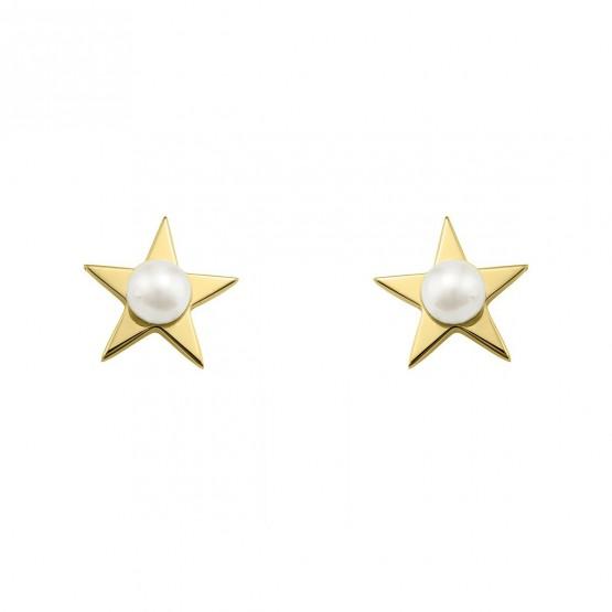 Pendientes de plata dorada estrella con perla (6A8307302)