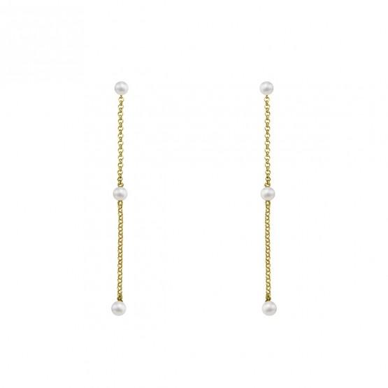 Pendientes largos de plata dorada con Perlas (6A8307303D)