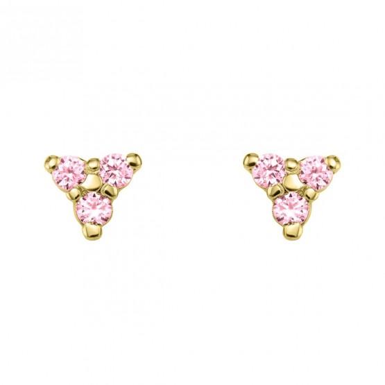 Pendientes oro triangulo con zafiros rosa (76APE002ZR)