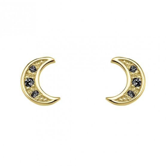 Pendientes oro Luna con diamantes negros (76APE004DN)