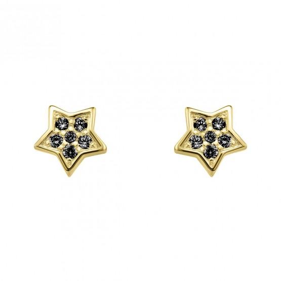 Pendientes oro estrella con diamantes negros (76APE005DN)