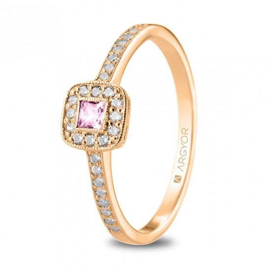 Anillo Zafiro Rosa con 28 diamantes (74R0091ZR)