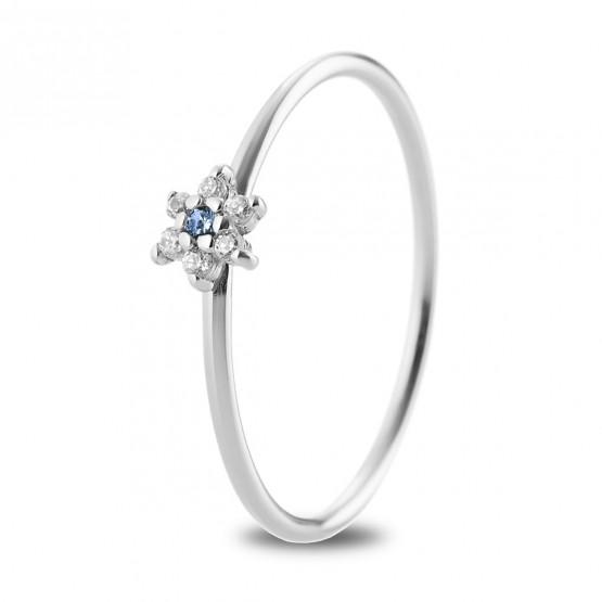 Anillo oro blanco flor con zafiro azul y diamantes (76BAN001ZA)