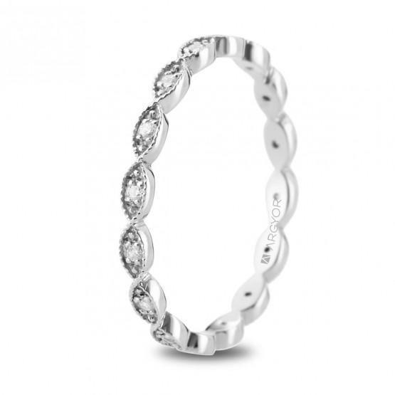 Anillo de oro blanco ovalos y diamantes (74B0168)