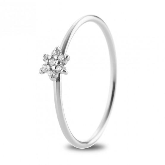 Anillo flor de diamantes en oro blanco 18k (76BAN001)