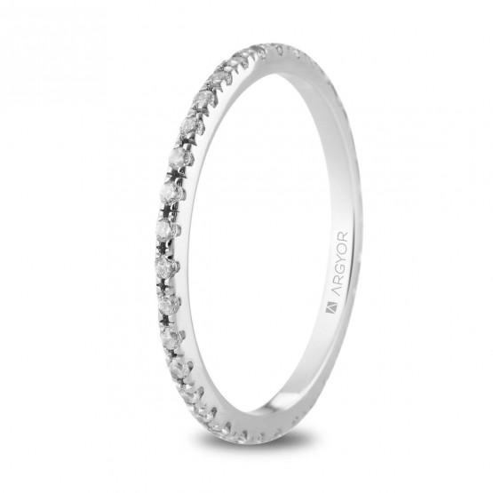 Anillo de oro blanco con linea de diamantes (74B0169)