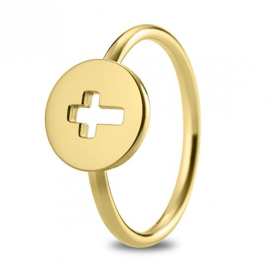 Anillo de plata de ley 925 dorada Cruz calada (7A8307307)
