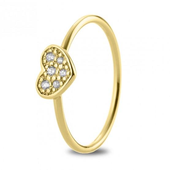 Anillo Corazón diamantes y oro 18k (76AAN007)