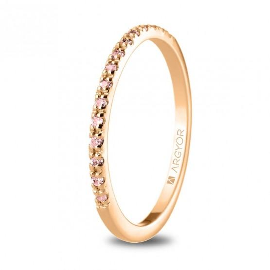 Anillo de oro con 15 zafiros rosas (74R0070ZR)