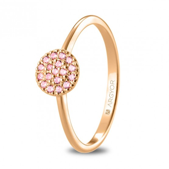 Anillo de oro rosa con rosetón de zafiros rosas (74R0089ZR)