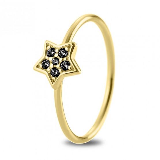 Anillo oro 18k Estrella con diamantes negros (76AAN005DN)