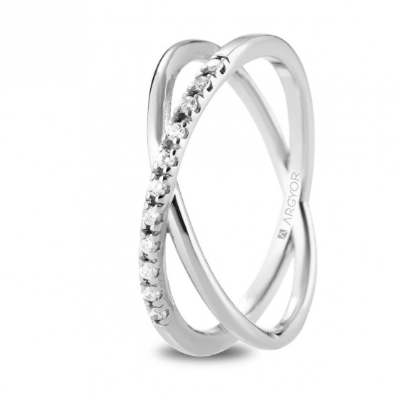 Anillo diamantes oro blanco cruzado doble (74B0160)