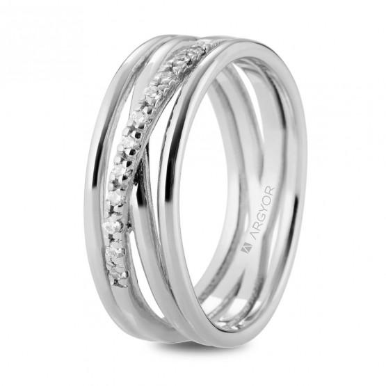 6bf858d8cff0 Anillo de diamantes en oro blanco de varios aros (74B0162)
