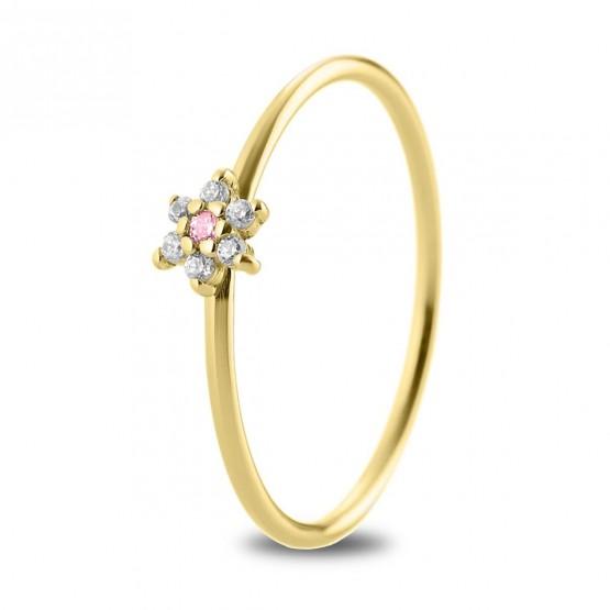 Anillo oro 18K flor con zafiro rosa y diamantes (76AAN001ZR)