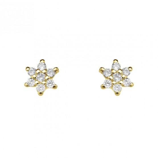 Pendientes de diamantes 18k flor (76APE001)