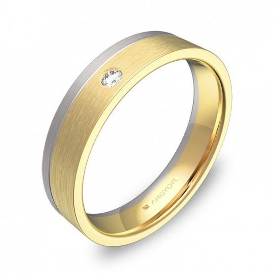 Alianza de boda con ranuras 4,5mm oro bicolor con diamante D0245S1BA