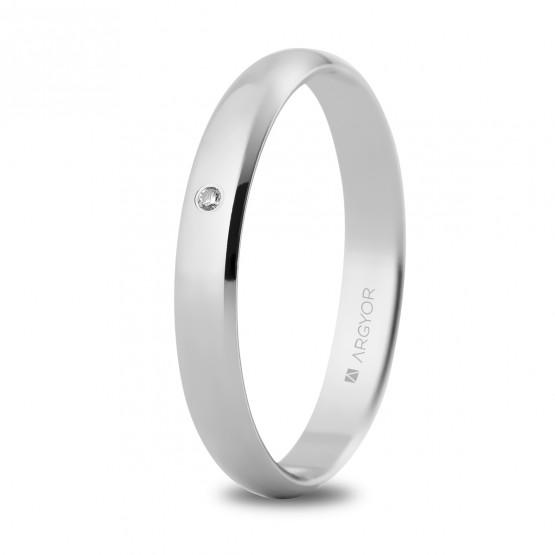Alianza de boda oro blanco y diamante clásica 3mm (5B305D)