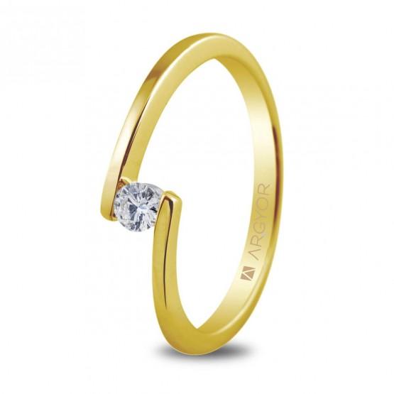 Anillo de compromiso de oro amarillo con 1 diamante 0.10ct (74A0013)
