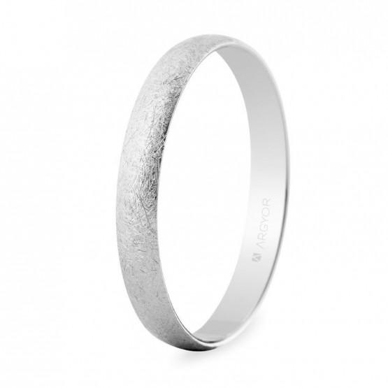Alianza de boda oro blanco 3mm efecto hielo (5B302H)