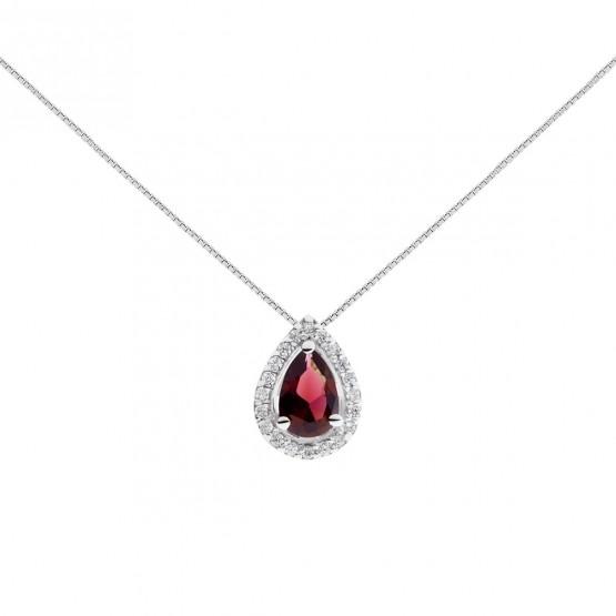 Colgante oro blanco con lagrima de rubí y pavé de diamantes (0513002R)