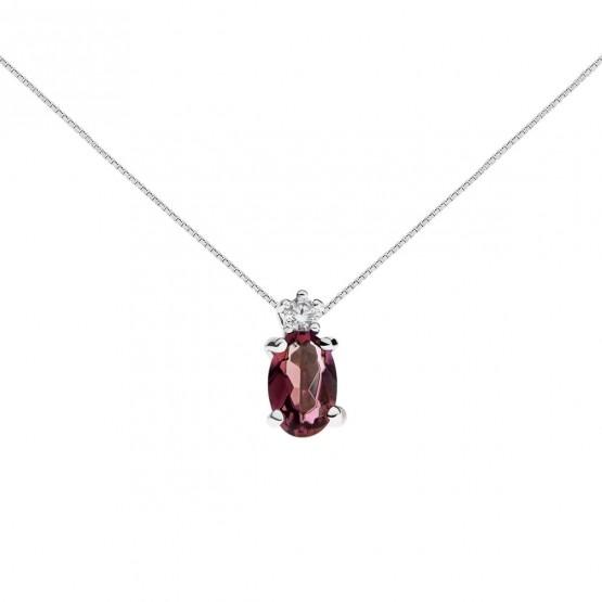 Colgante oro blanco con rubí y diamante (0513003R)