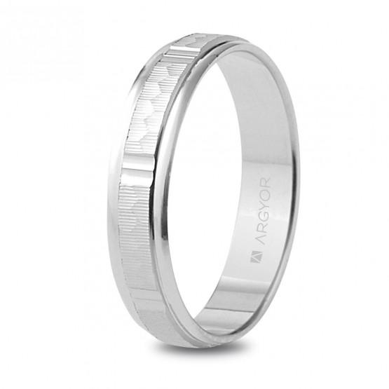 Alianza de boda en plata 4mm labrado-brillo (5740311)